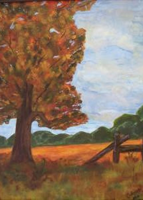 Tree Greeting Card featuring the painting Solitude by Sandra Winiasz