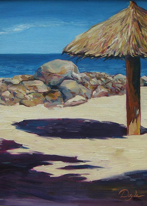 Ocean Greeting Card featuring the painting Solo Palapa by Karen Doyle
