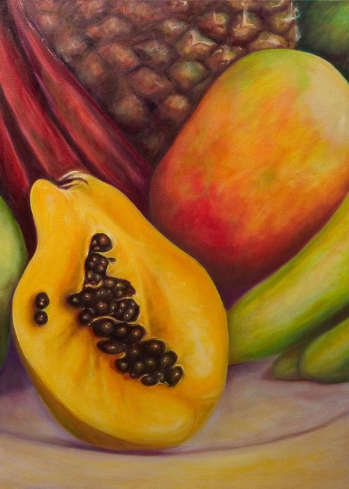 Tropical Fruit Still Life: Mangoes Greeting Card featuring the painting Solo by Shannon Grissom