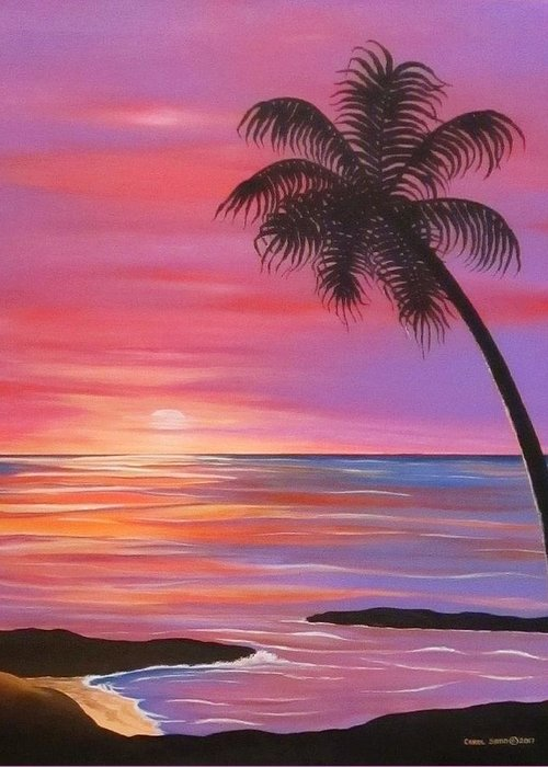 Sunset Greeting Card featuring the painting Solo View by Carol Sabo