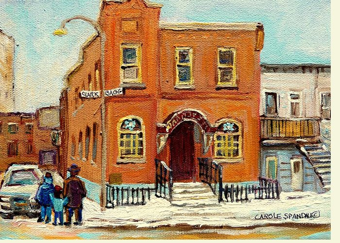 Bagg Street Synagogue Greeting Card featuring the painting Solomons Temple Montreal Bagg Street Shul by Carole Spandau