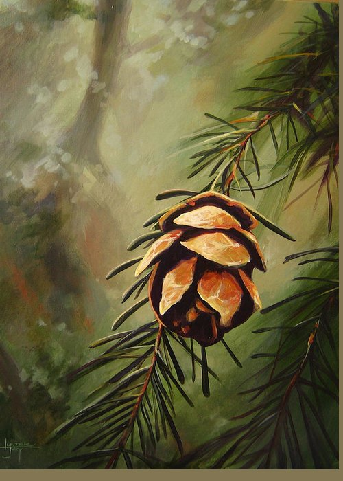 Closeup Of Spruce Cone Greeting Card featuring the painting Solstice by Hunter Jay