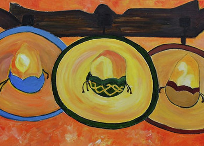 Still Life Greeting Card featuring the painting Sombreros by Dorota Nowak