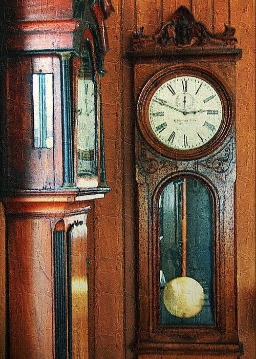 Antiques Greeting Card featuring the digital art Somebodys Grandfathers Clocks by RC DeWinter