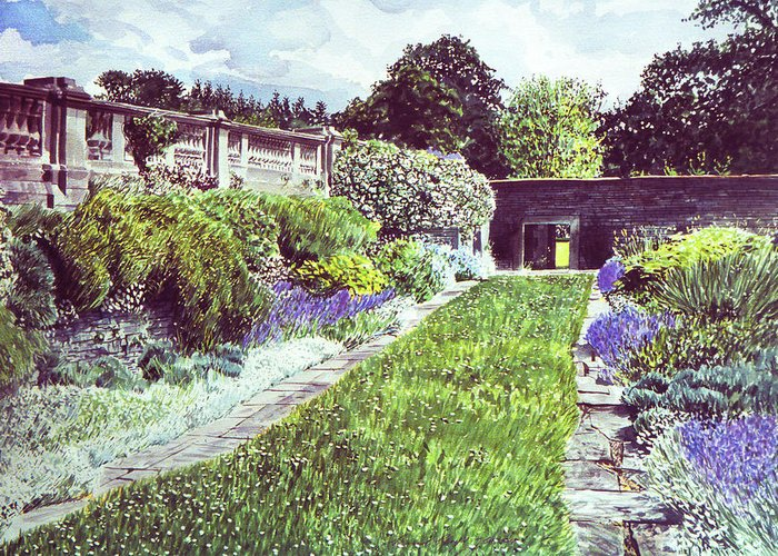 Gardens Greeting Card featuring the painting Somerset Garden by David Lloyd Glover