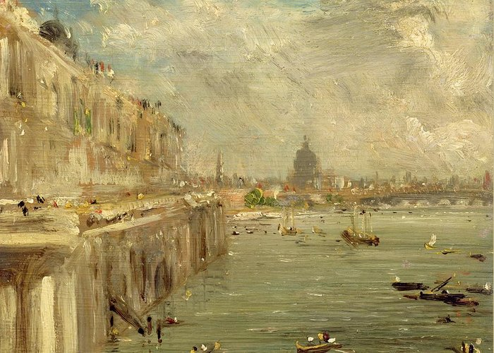 Somerset Greeting Card featuring the painting Somerset House Terrace From Waterloo Bridge by John Constable