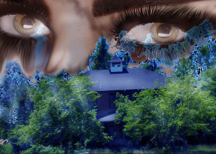 Strange House Greeting Card featuring the digital art Something To Watch Over Me by Seth Weaver