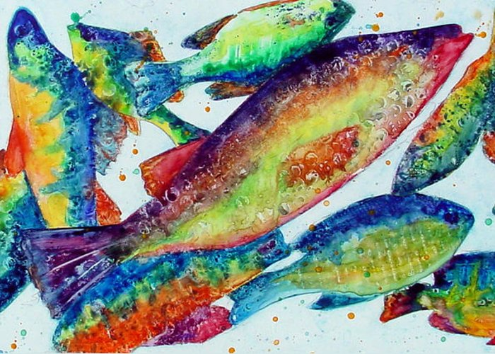 Fish Greeting Card featuring the painting Something's Fishy by Marsha Elliott