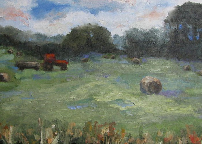 Landscape Greeting Card featuring the painting Somewhere In Oklahoma by Sharon Franke
