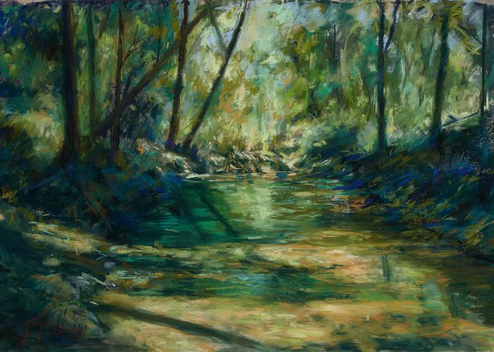 Green River Greeting Card featuring the painting Somewhere Near Austin by Billie Colson
