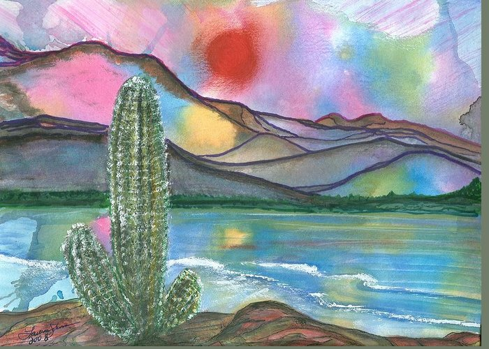 Sunset Greeting Card featuring the painting Somewhere South by Laura Johnson