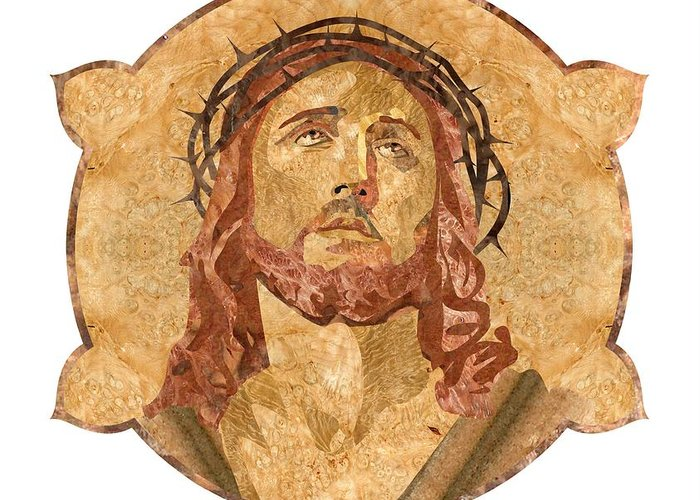 Jesus Greeting Card featuring the pyrography Son Of God by Aydin Kalantarov