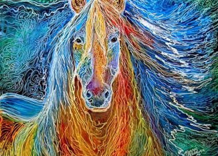 Horse Greeting Card featuring the painting SON Of MIDNIGHTSUN by Marcia Baldwin