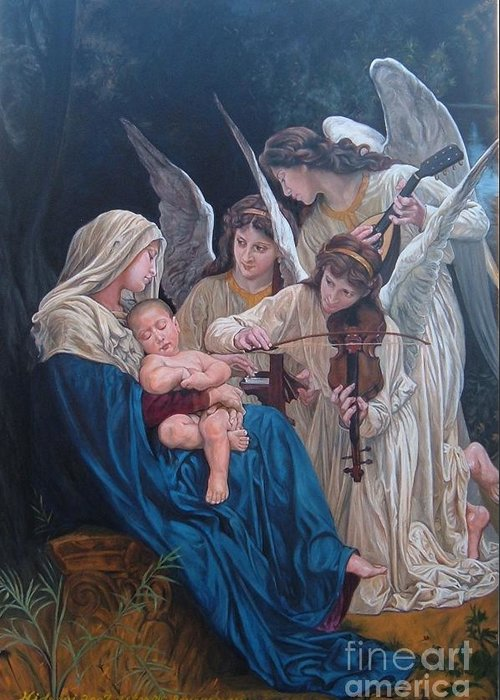 Classical Paint Greeting Card featuring the painting Song Of Angels After W. Bouguereau by Hidemi