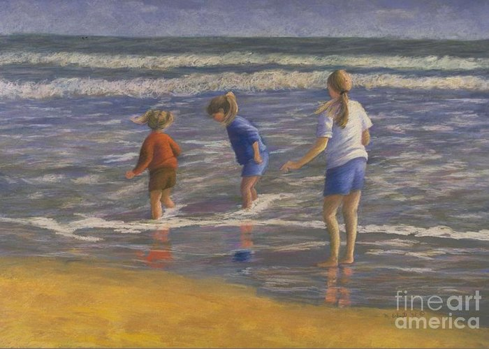 Beach Greeting Card featuring the painting Song Of Praise by Mary Erbert