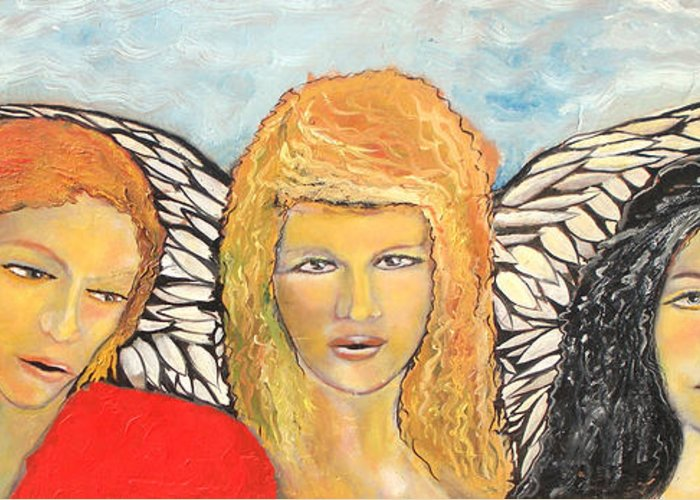 Angels Greeting Card featuring the painting Song of the Sisters by J Bauer