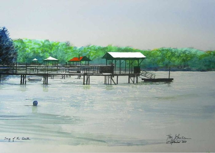 Bluffton Greeting Card featuring the painting Song Of The South by Tim Johnson