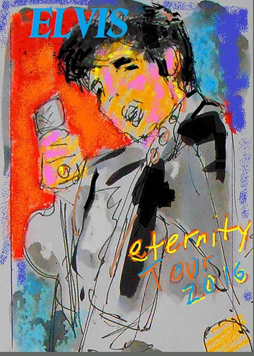 Elvis Early Days Greeting Card featuring the painting Song Redux Fot T-shirt by Samuel Zylstra