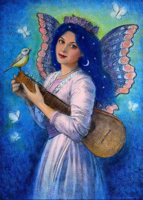 Music Greeting Card featuring the painting Songbird For A Blue Muse by Sue Halstenberg