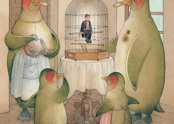 Birds Opera Greeting Card featuring the painting Songman by Kestutis Kasparavicius