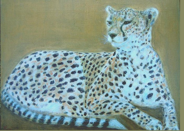 Cheetah Greeting Card featuring the painting Sonia The Cheetah II by Isabelle Ehly
