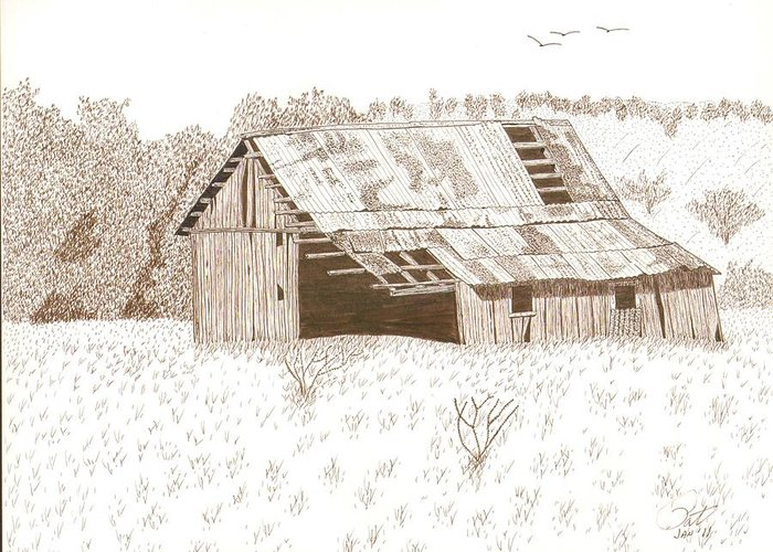 Pen And Ink Greeting Card featuring the drawing Sonora Barn by Pat Price
