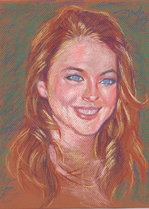 Portrait Greeting Card featuring the painting Sonrisa Sutil by Horacio Prada