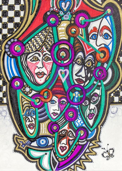 Heart Greeting Card featuring the painting Sooooooo Many Faces by Laurel Rosenberg