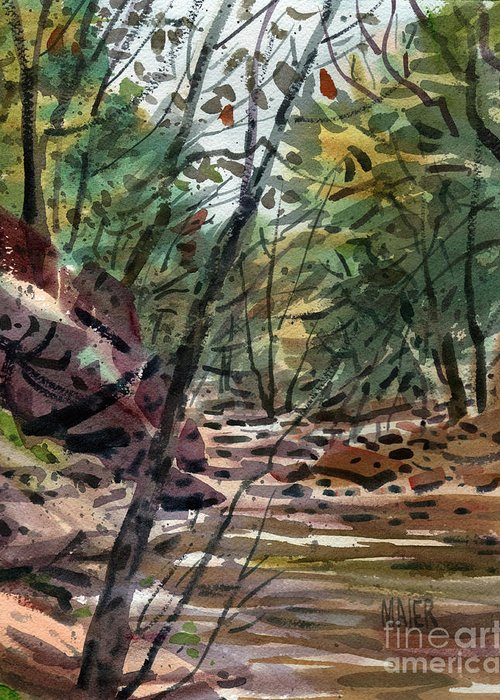 Sope Creek Greeting Card featuring the painting Sope Creek Three by Donald Maier