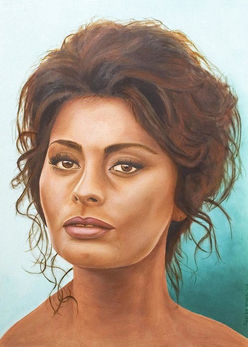 Moviestar Greeting Card featuring the painting Sophia Loren by Rob De Vries