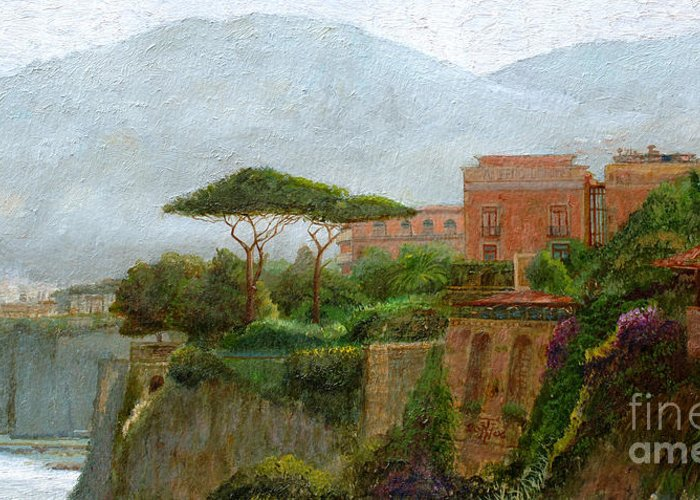 Amalfi Coast; Coastal; Landscape; Italian; Italy; Mountain; Mountains; Tree; Trees; Sorrento; Albergo Greeting Card featuring the painting Sorrento Albergo by Trevor Neal