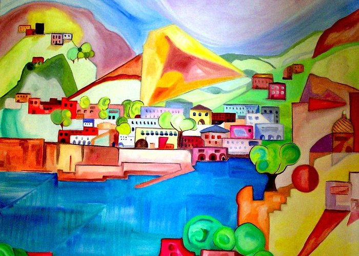 Abstract Greeting Card featuring the painting Sorrento by Patricia Arroyo