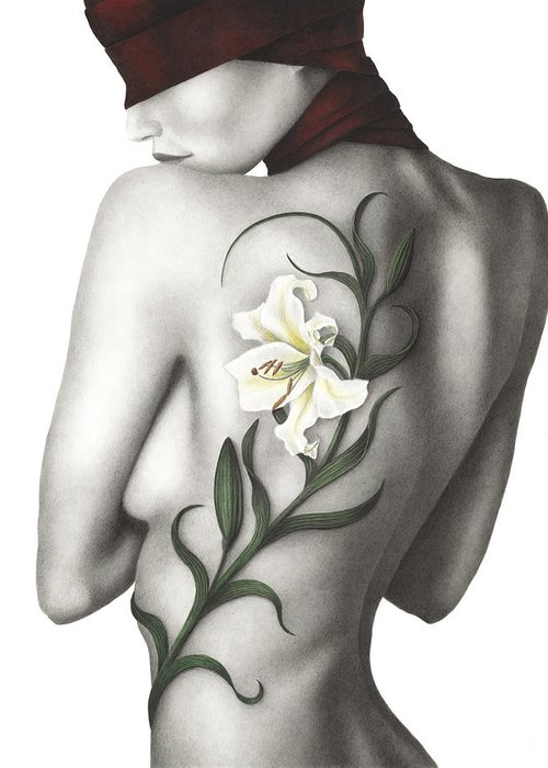 Woman Greeting Card featuring the painting Sorrow by Pat Erickson