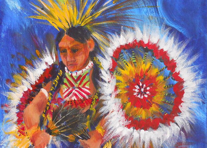 Indian Greeting Card featuring the painting Souix Dancer by Summer Celeste