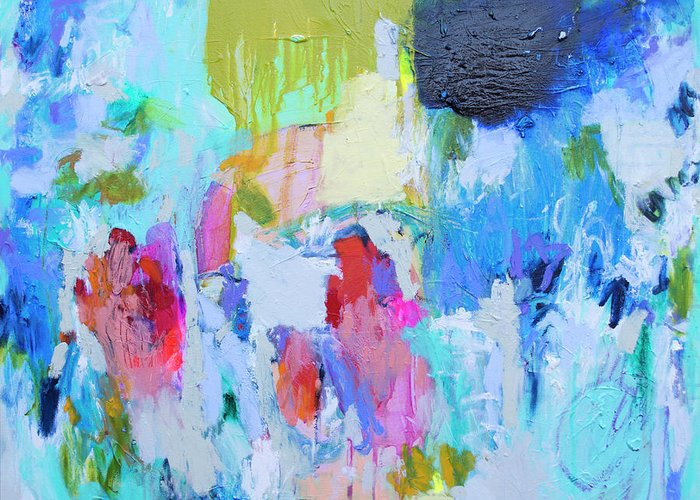 Abstract Greeting Card featuring the painting Soul Feeling by Claire Desjardins