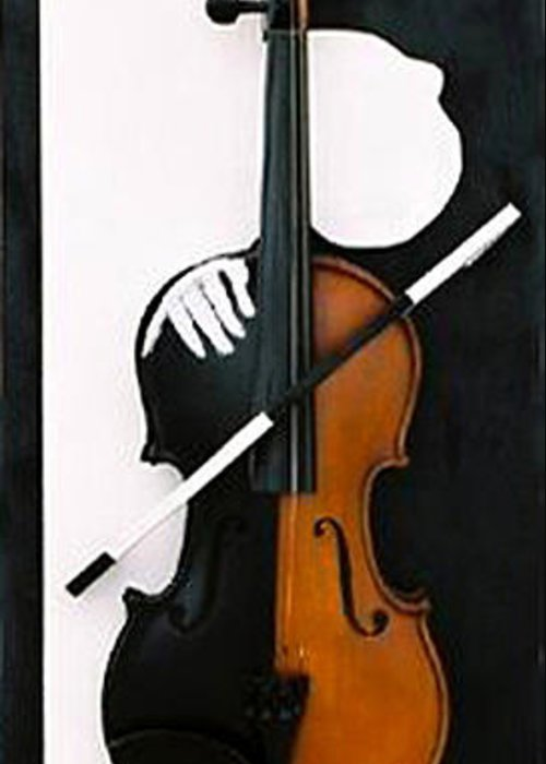 Violin Greeting Card featuring the sculpture Soul Of Music by Steve Karol