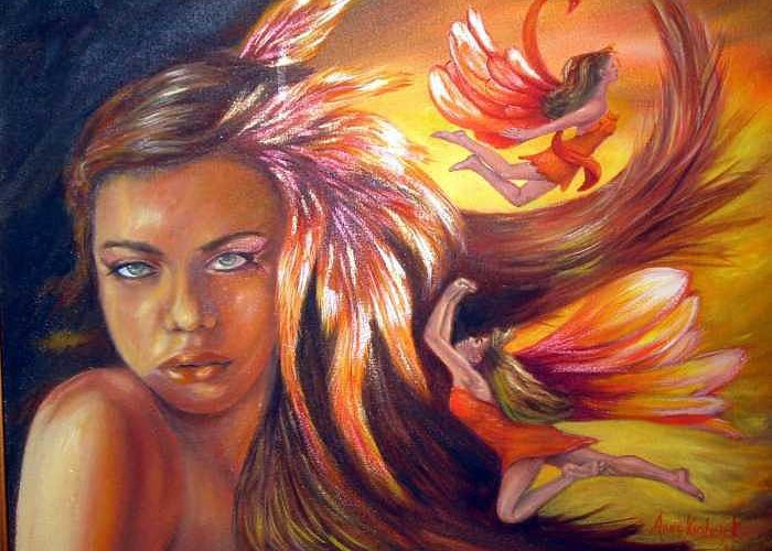 Greeting Card featuring the painting Soulfire by Anne Kushnick