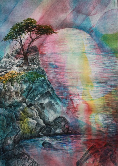 Spiritual Landscape Representing Two Souls Connected Greeting Card featuring the painting Soulmates by Patsy Sharpe