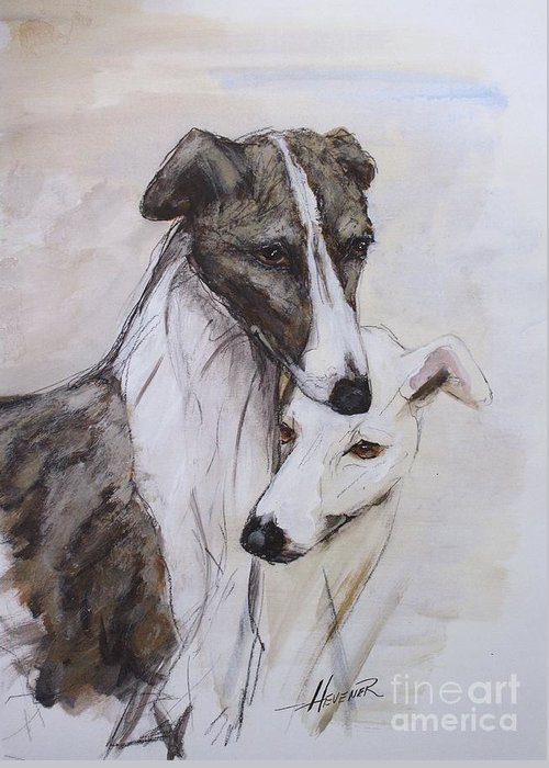 Greyhound Greeting Card featuring the painting Soulmates by Ron Hevener