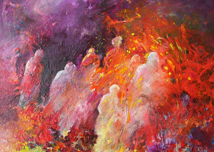 Impressionism Greeting Card featuring the painting Souls In Hell by Miki De Goodaboom