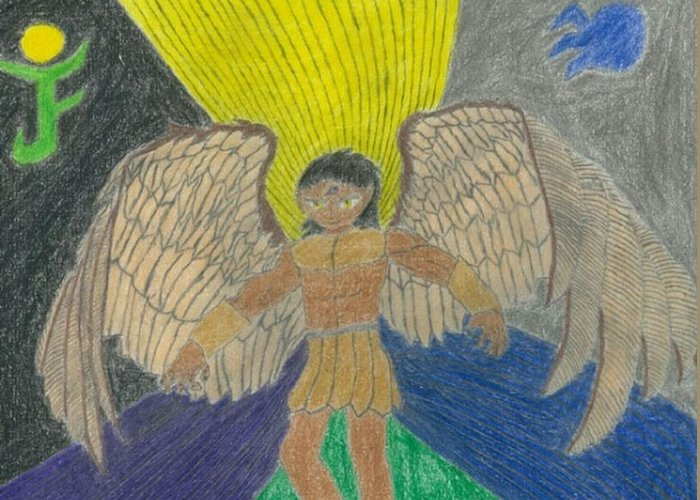 Rahmel Greeting Card featuring the drawing Soul's Keeper by Rahmel Garner