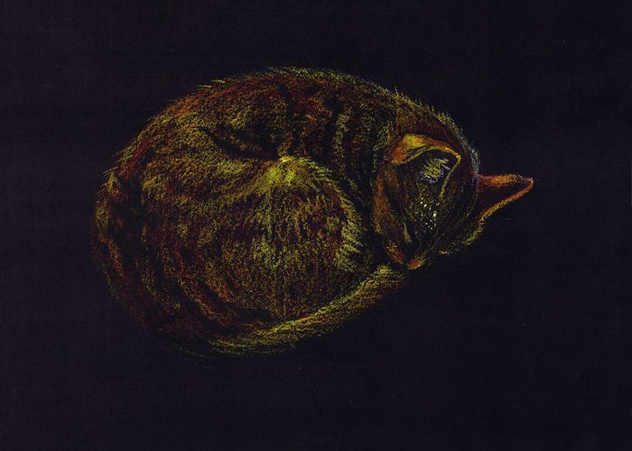 A Cat Soundly Asleep-oil Pastel Greeting Card featuring the painting Sound Asleep II by Mui-Joo Wee