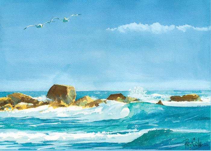 Waves Greeting Card featuring the painting Sound Of Surf by Ray Cole