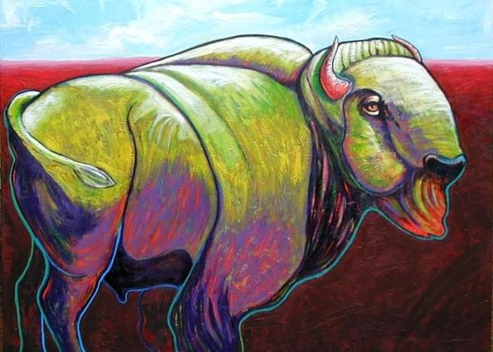 Wildlife Greeting Card featuring the painting Source Of Our Being - Buffalo by Joe Triano