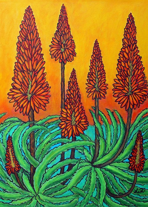 Aloe Greeting Card featuring the painting South African Fireball by Lisa Lorenz