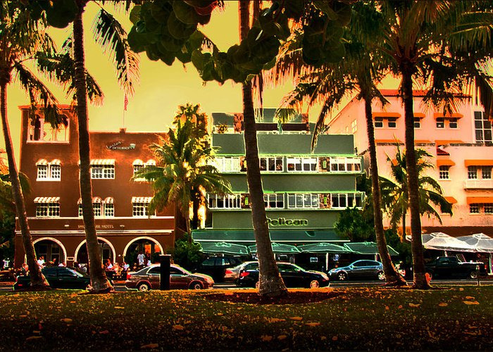 South Beach Greeting Card featuring the photograph South Beach Ocean Drive by Steven Sparks