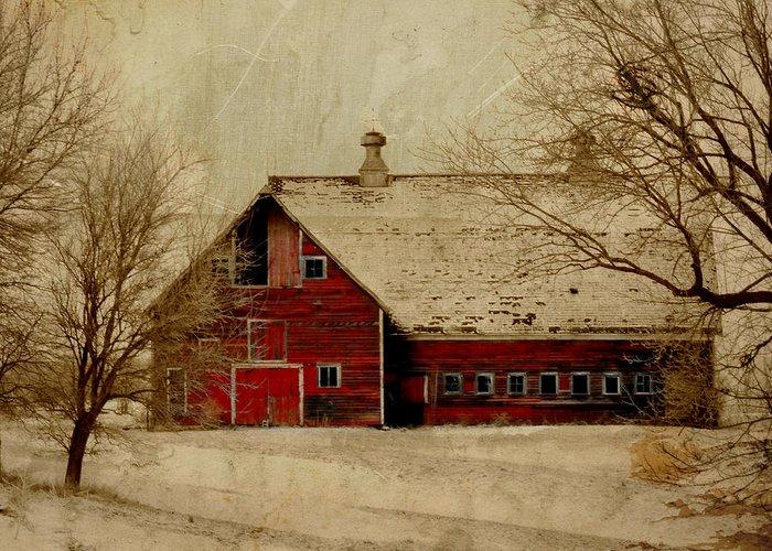 Red Greeting Card featuring the digital art South Dakota Barn by Julie Hamilton