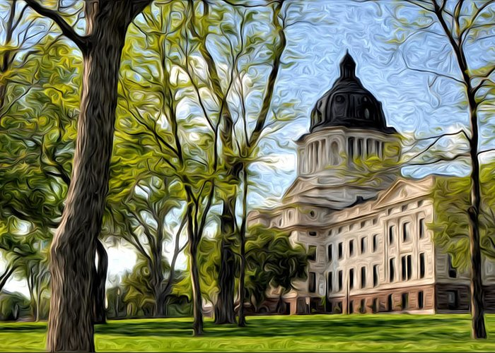 Oil Greeting Card featuring the photograph South Dakota Capitol Oil Painting by Matt Hicks
