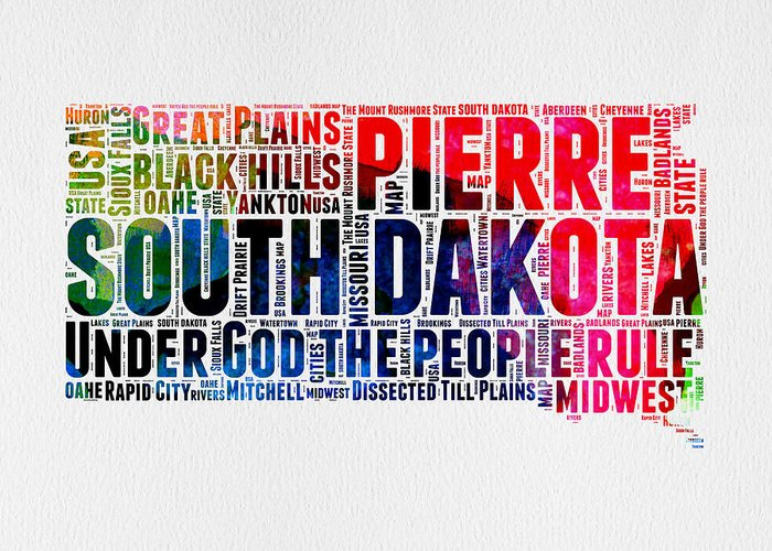 South Dakota Greeting Card featuring the digital art South Dakota Watercolor Word Cloud by Naxart Studio