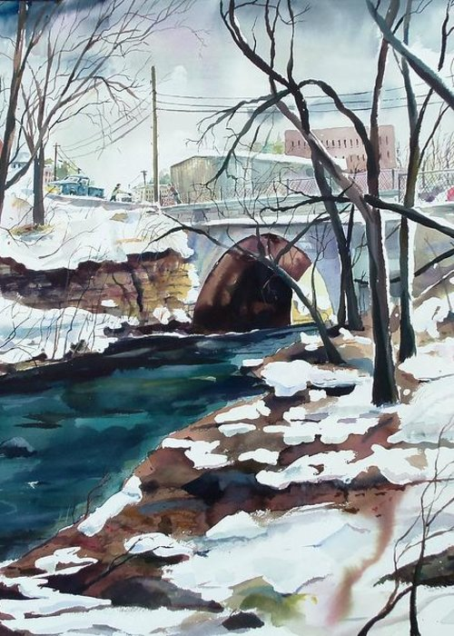 Watercolor Greeting Card featuring the painting South Main Street Bridge by Scott Nelson